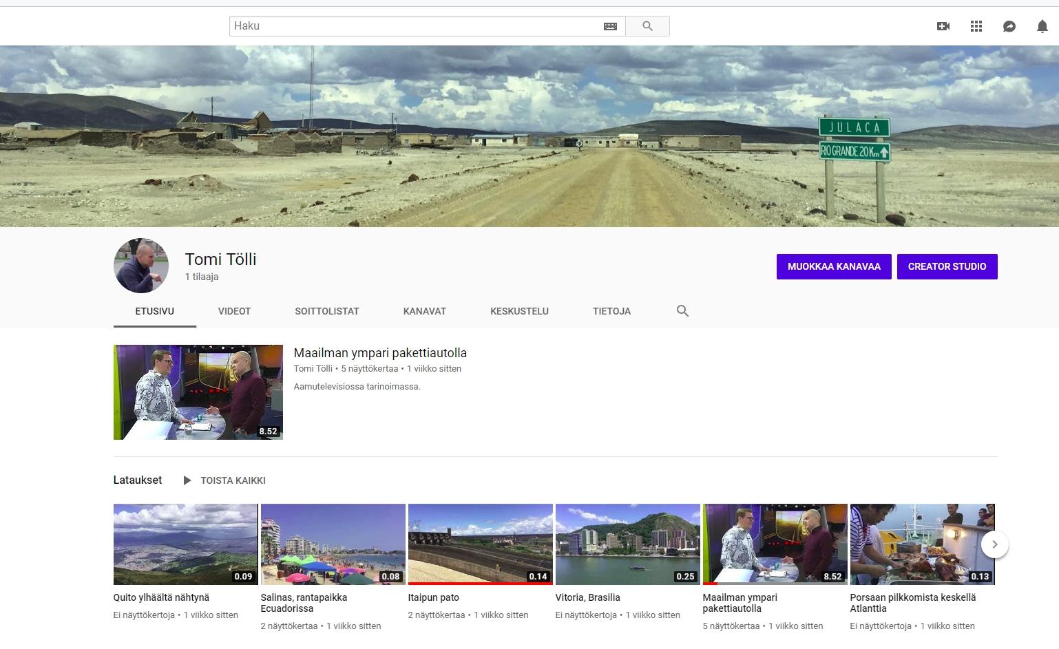 Youtube-kanava ja kirjakuulumisia